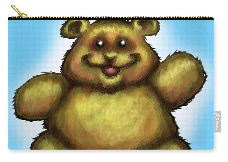 Happy Birthday Carry-all Pouch featuring the greeting card Happy Birthday Bear by Kevin Middleton