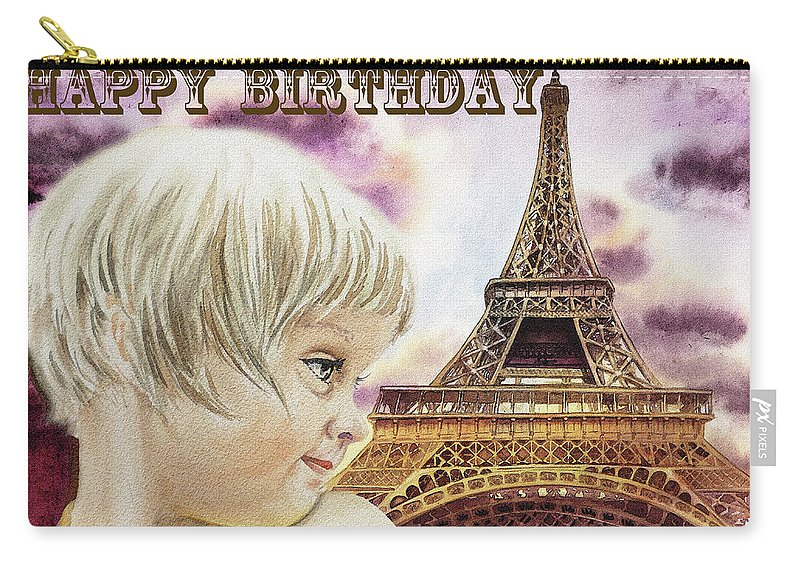 Happy Birthday French Girl Paris Card Carry All Pouch For Sale By