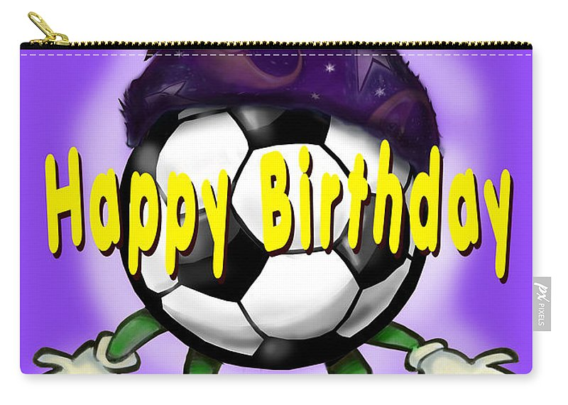Soccer Carry-all Pouch featuring the greeting card Happy Birthday Soccer Wizard by Kevin Middleton