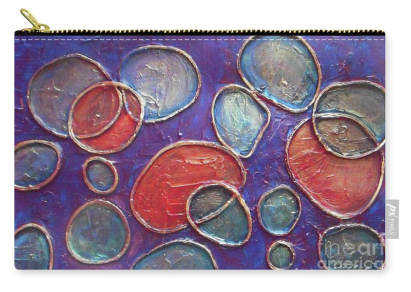 Circles Carry-all Pouch featuring the painting Happy Bubbles by Vesna Antic