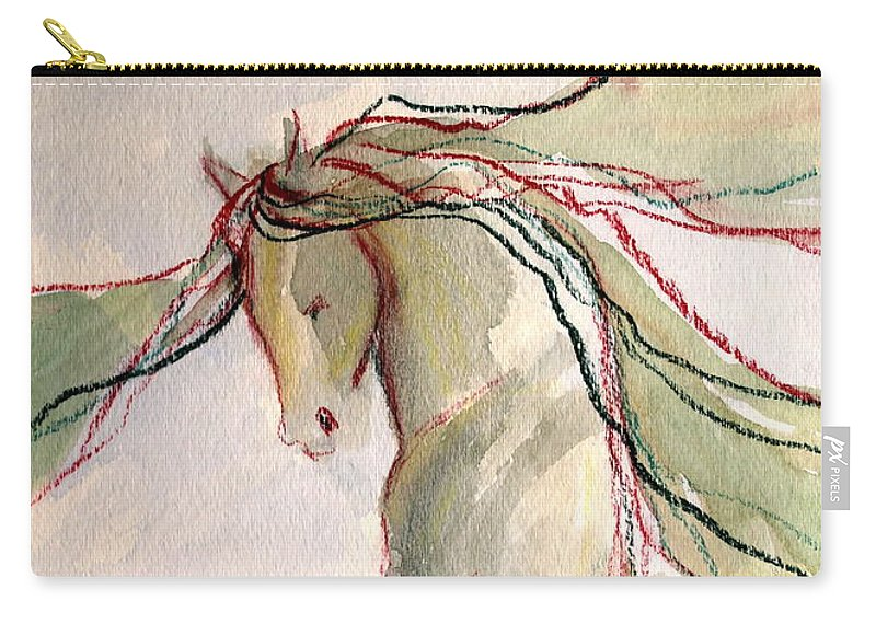 Dressage Dancing Horse Abstract Mixed Media Pirouette Equine Expression Extension Freedom Grand Prix Music Racing Racehorse Impulsion Lipizzaner Musical Freestyle Lightness Majestic Passage Piaffee Pura Raza Espanola Quarterhorse Thoroughbred Arabian Andalusian Balance Cadence Canter Dutch Warmblood Show Jumping Spanish Sporthorse Strength Submission Trakehner Transitions Westphalian Colorful Animal Whimsical Tempi Changes Gypsy Vanner Stallion Elasticity Eventing Equitation Equestrian Half-pass Carry-all Pouch featuring the mixed media Happy Dancer by Jennifer Fosgate