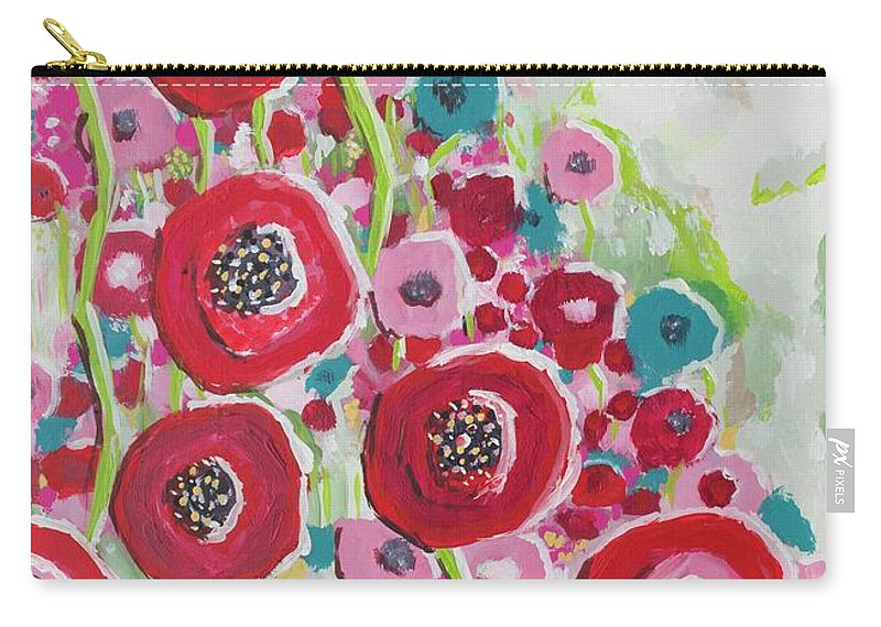 Poppy Flowers Carry-all Pouch featuring the painting Happy Day by Sarah Jewett