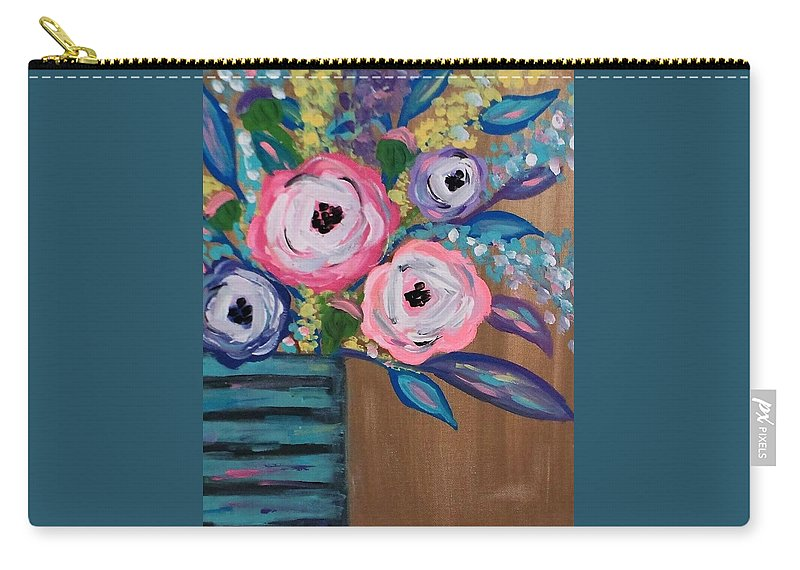Abstract Carry-all Pouch featuring the painting Happy Days by Melisa Farthing