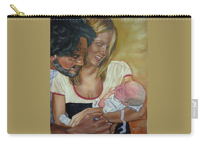 Family Carry-all Pouch featuring the painting Happy Family by Bryan Bustard