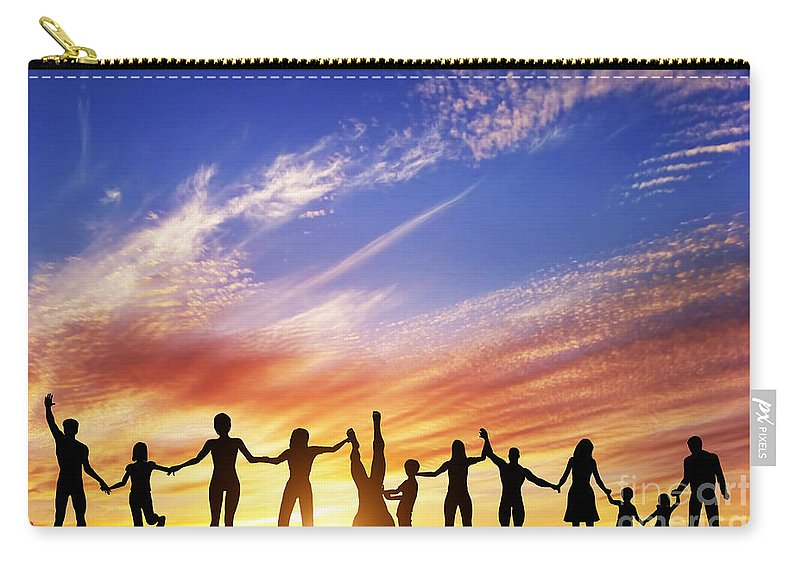 Friends Carry-all Pouch featuring the photograph Happy Group Of Diverse People by Michal Bednarek