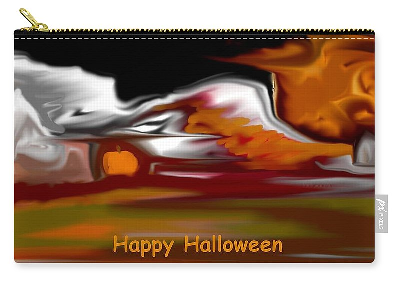 Abstract Digital Painting Carry-all Pouch featuring the digital art Happy Halloween by David Lane
