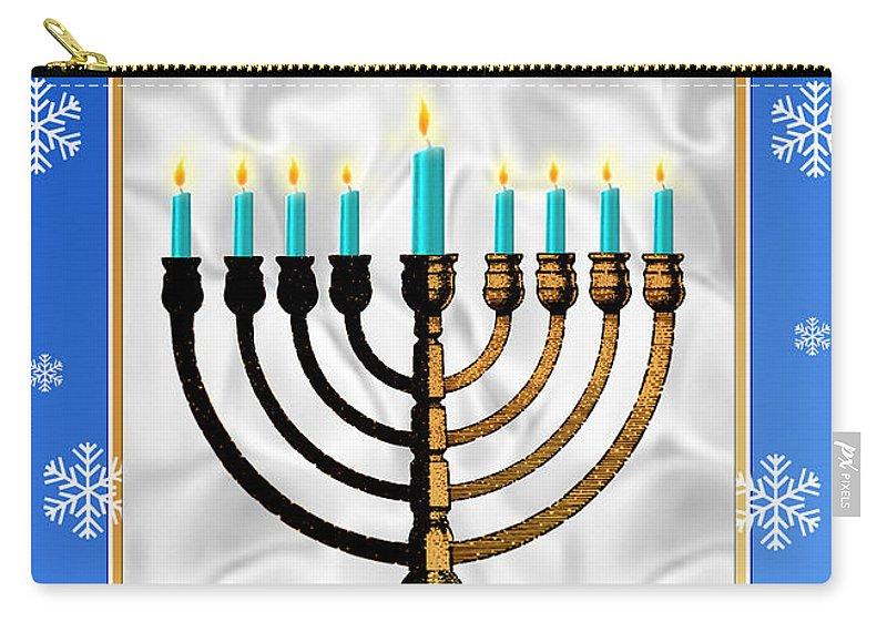 Hanukkah Carry-all Pouch featuring the digital art Happy Hanukkah by Melissa A Benson