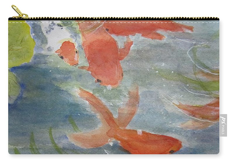 Fish Carry-all Pouch featuring the painting Happy Koi by Elvira Ingram