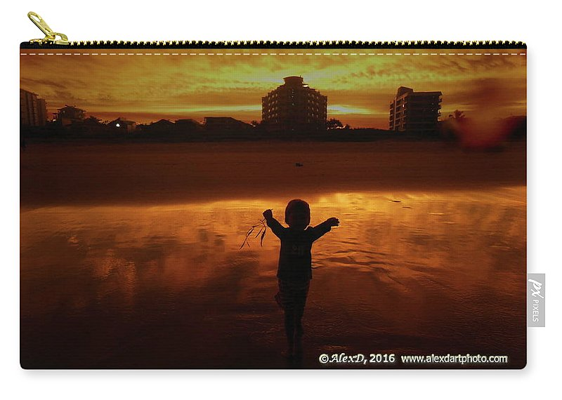 Beach Carry-all Pouch featuring the photograph Happy Moment At A Beach by Alexey Dubrovin