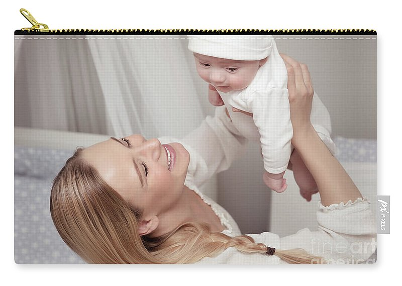 Baby Carry-all Pouch featuring the photograph Happy Mother With Her Baby by Anna Om