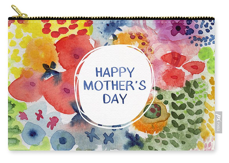 Mom Carry-all Pouch featuring the painting Happy Mothers Day Watercolor Garden- Art By Linda Woods by Linda Woods