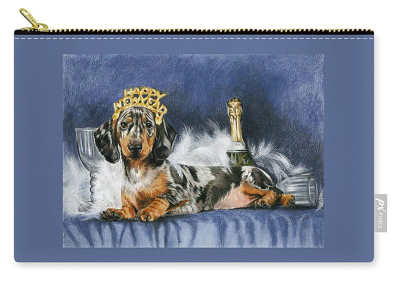 Dog Carry-all Pouch featuring the mixed media Happy New Year by Barbara Keith