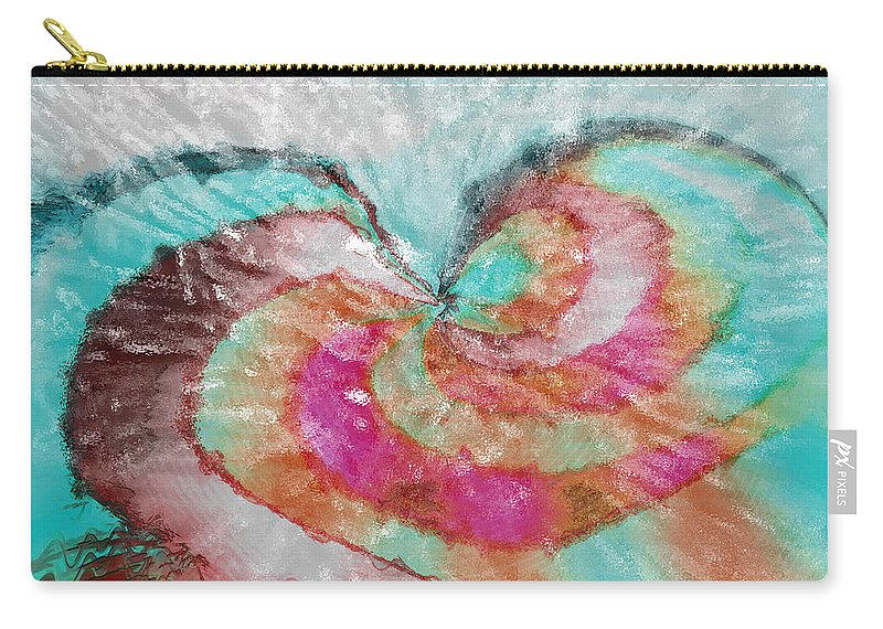 Abstract Art Carry-all Pouch featuring the digital art Happy Valentine's Day by Linda Sannuti
