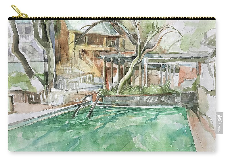Harbin Carry-all Pouch featuring the painting Harbin Hotsprings Pool by Abbie Rabinowitz