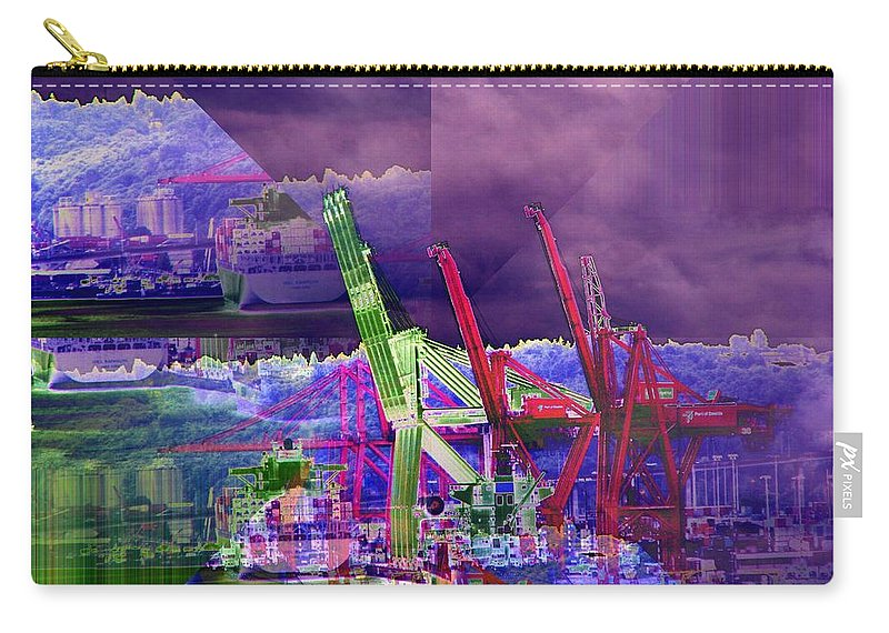 Seattle Carry-all Pouch featuring the digital art Harbor Island Workhorses by Tim Allen