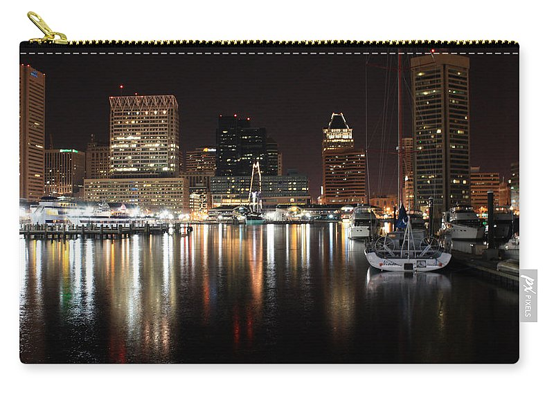 Harbor Carry-all Pouch featuring the photograph Harbor Nights - Baltimore Skyline by Ronald Reid