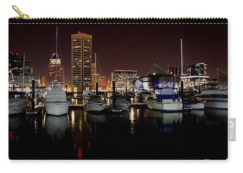 Harbor Carry-all Pouch featuring the photograph Harbor Nights - Trade Center In Focus by Ronald Reid
