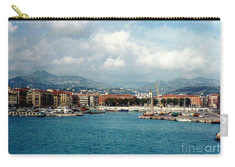 Landscape Carry-all Pouch featuring the photograph Harbor Scene In Nice France by Nancy Mueller
