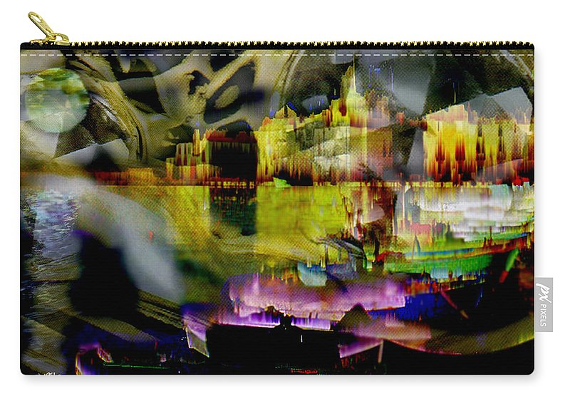 European Carry-all Pouch featuring the digital art Harbor Scene Through A Vodka Bottle by Seth Weaver
