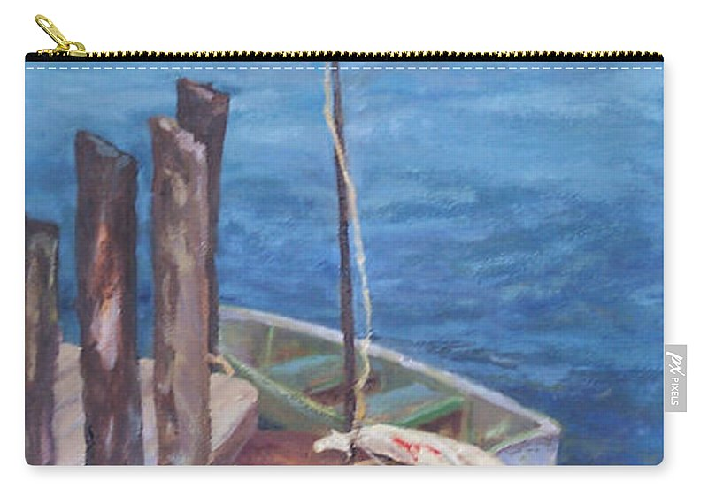 Coastal Landscape Carry-all Pouch featuring the painting Harbor View So. Freeport Wharf by Alicia Drakiotes