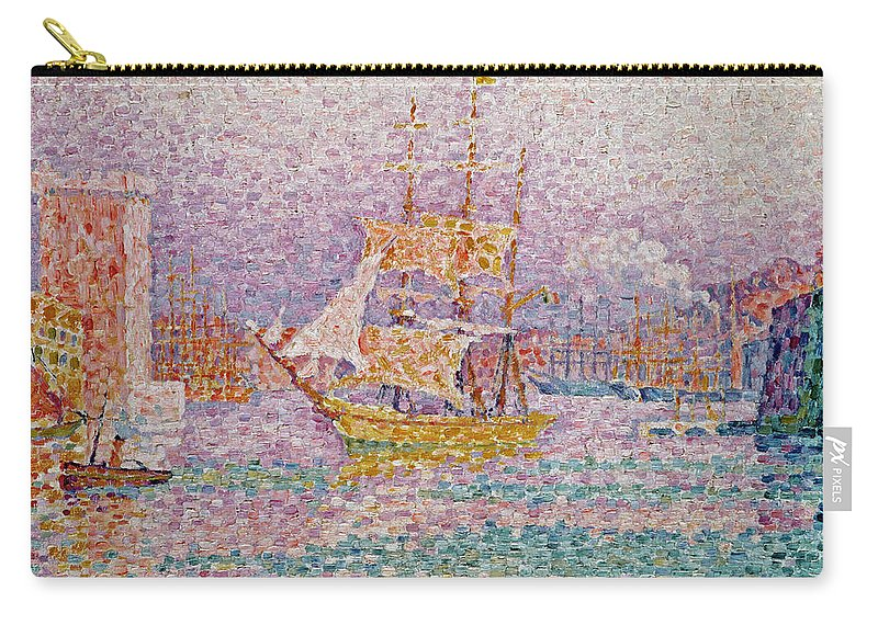Harbour At Marseilles Carry-all Pouch featuring the painting Harbour At Marseilles by Paul Signac