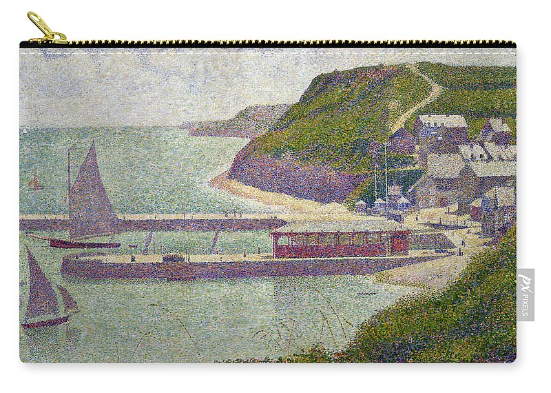 Harbour At Port-en-bessin At High Tide Carry-all Pouch featuring the painting Harbour At Port En Bessin At High Tide by Georges Pierre Seurat