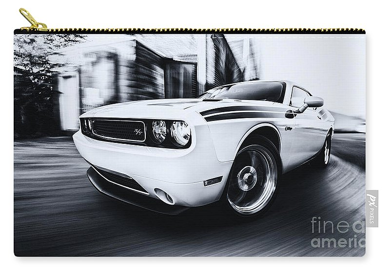 Black And White Car Photography Carry-all Pouch featuring the photograph Challenger by Digital Kulprits