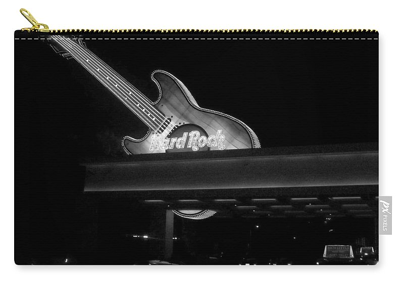 Vegas Carry-all Pouch featuring the photograph Hard Rock Cafe Sign 2 B-w by Anita Burgermeister