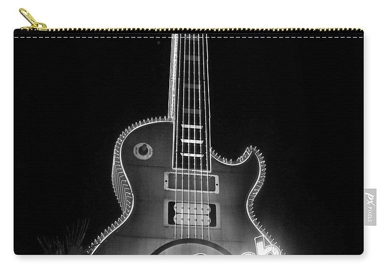 Vegas Carry-all Pouch featuring the photograph Hard Rock Cafe Sign B-w by Anita Burgermeister