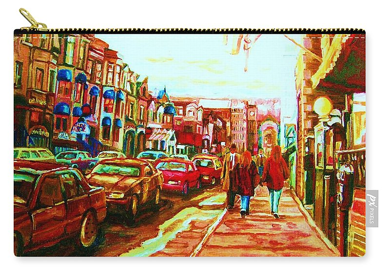Montreal Streetscenes Carry-all Pouch featuring the painting Hard Rock On Crescent by Carole Spandau