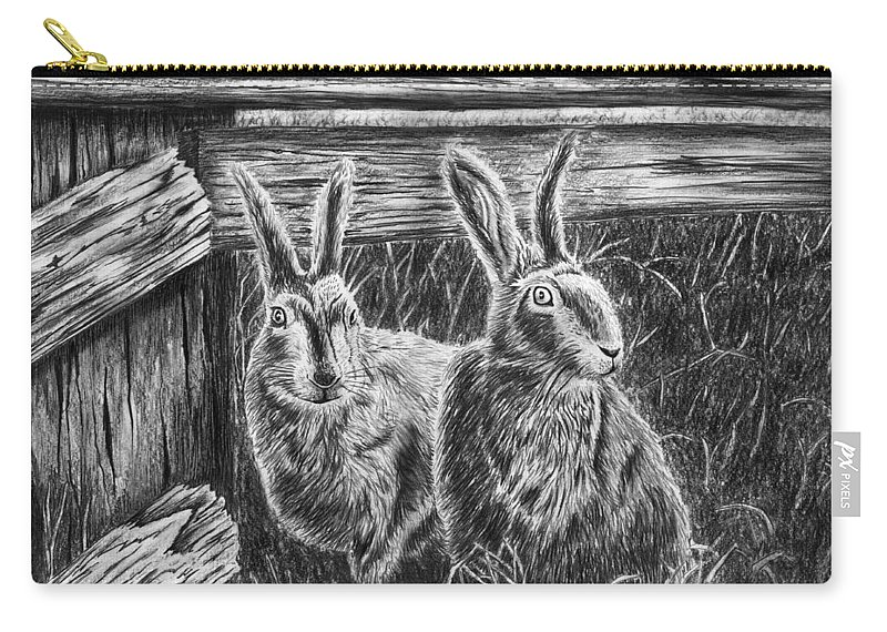 Hare Line Carry-all Pouch featuring the drawing Hare Line by Peter Piatt