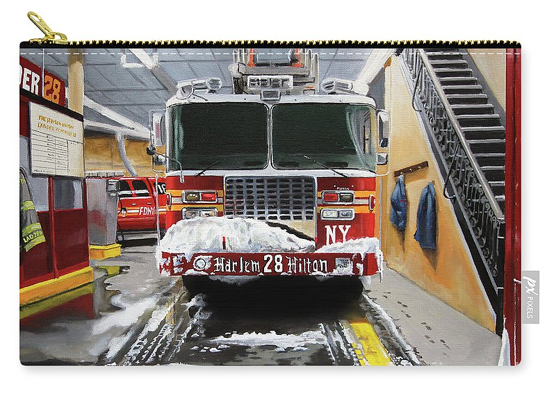 Fdny Carry-all Pouch featuring the painting Harlem Hilton Ladder 28 by Paul Walsh