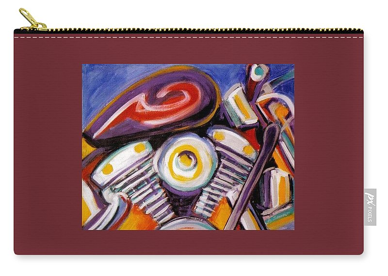 Abstract Carry-all Pouch featuring the painting Harley Closeup by Anita Burgermeister