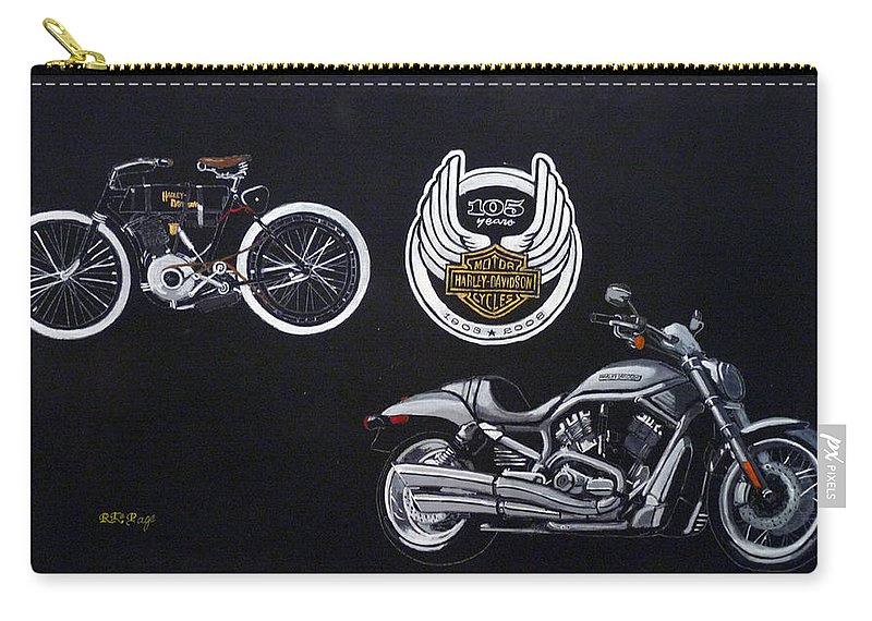 Bikes Carry-all Pouch featuring the painting Harley Davidson 105th Anniversary by Richard Le Page