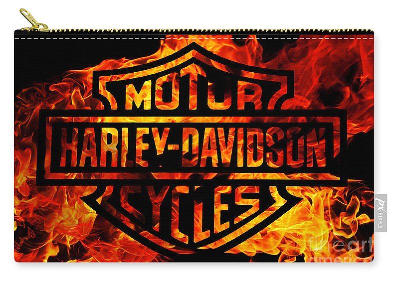 Harley Davidson Logo Flames Carry-all Pouch featuring the digital art Harley Davidson Logo Flames by Randy Steele