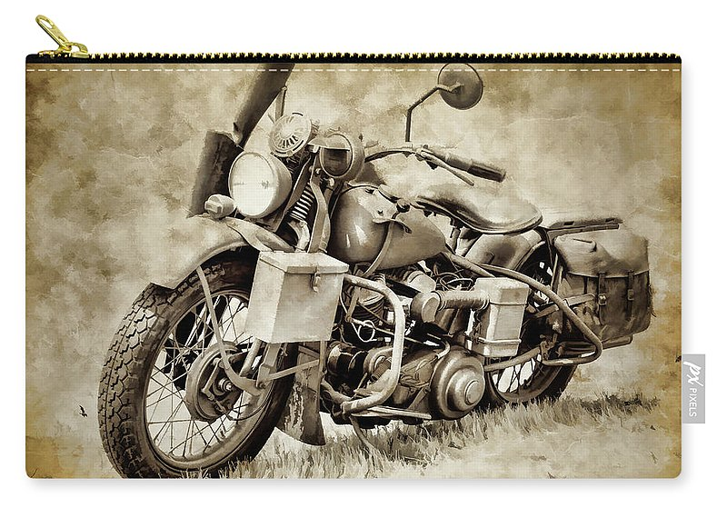 ed3d3d01 Harley Davidson Motorcycle Carry-all Pouch featuring the photograph Harley  Davidson Military Bike Iv by