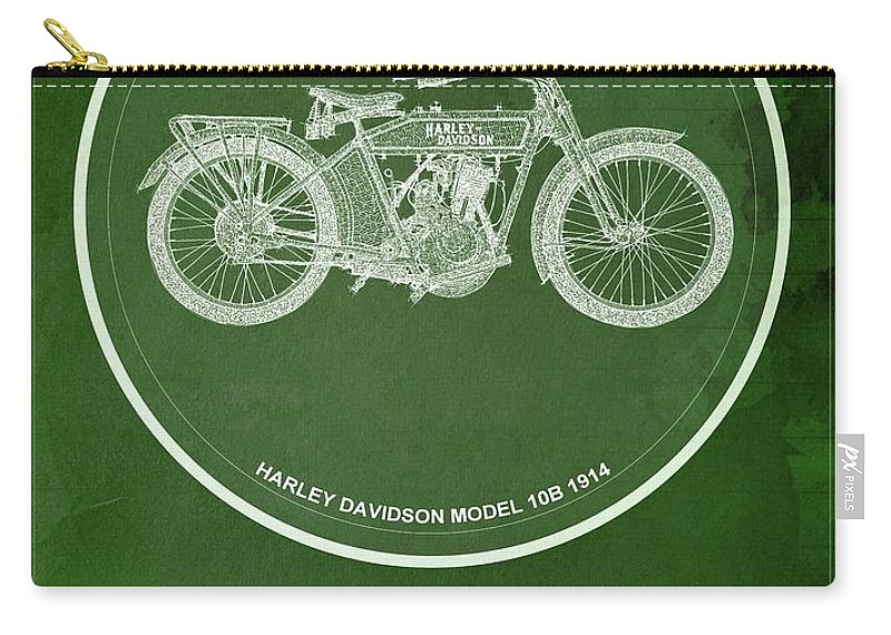 Yamaha Carry-all Pouch featuring the digital art Harley Davidson Model 10b,1914 For Some There's Therapy, For The Rest Of Us There's Motorcycles by Drawspots Illustrations