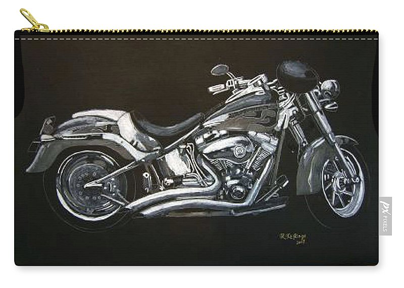 Harley Davidson Carry-all Pouch featuring the painting Harley Davidson by Richard Le Page