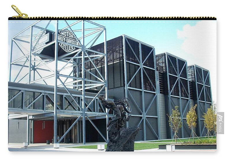 Architechture Carry-all Pouch featuring the photograph Harley Museum And Statue by Anita Burgermeister
