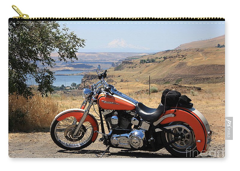 Washington State Carry-all Pouch featuring the photograph Harley With Columbia River And Mt Hood by Carol Groenen