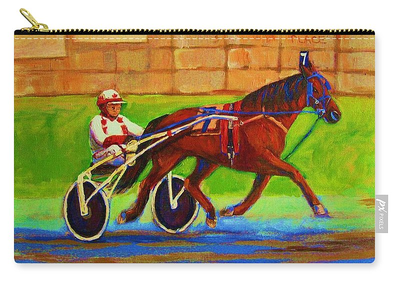 Harness Racing Carry-all Pouch featuring the painting Harness Racing At Bluebonnets by Carole Spandau