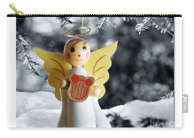 Christmas Carry-all Pouch featuring the digital art Harp The Herald Angels Sing by Ken and Lois Wilder