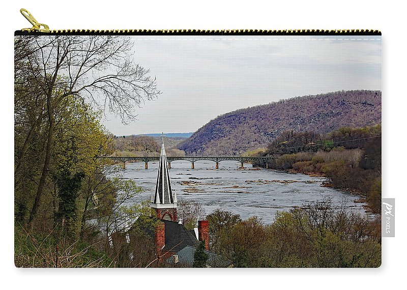 Harpers Carry-all Pouch featuring the photograph Harpers Ferry - Shenandoah Meets The Potomac by Ronald Reid