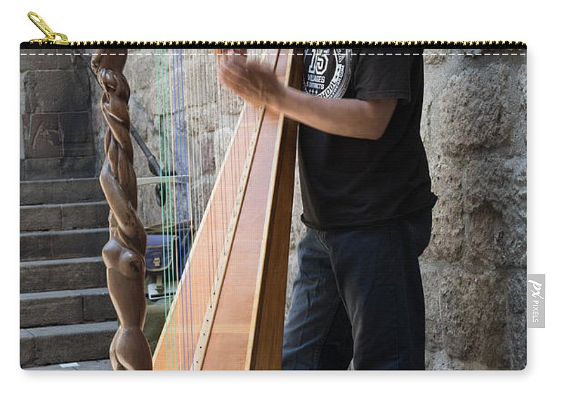 Street Carry-all Pouch featuring the photograph Harpist Street Musician, Barcelona, Spain by Nicole Freedman