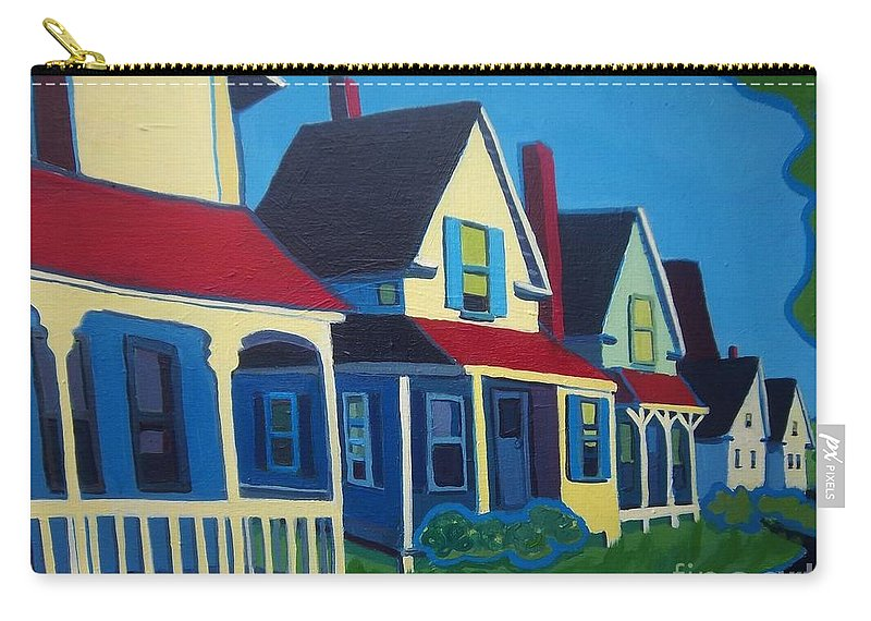 Maine Carry-all Pouch featuring the painting Harpswell Cottages by Debra Bretton Robinson