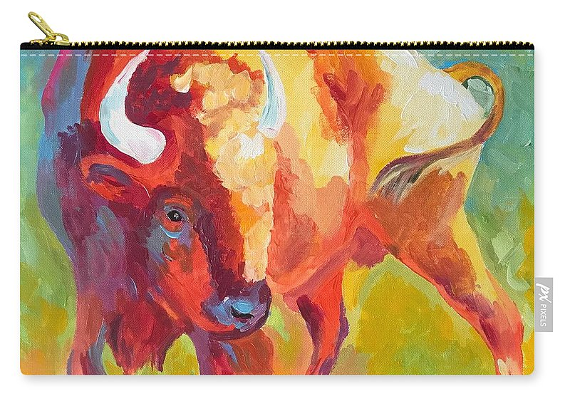 Bison Carry-all Pouch featuring the painting Hartsel Bison In Springtime by Kathi Schwan