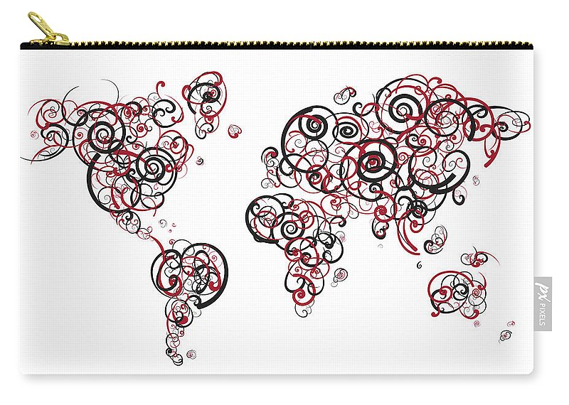 Globe Carry-all Pouch featuring the digital art Harvard University Colors Swirl Map Of The World Atlas by Jurq Studio