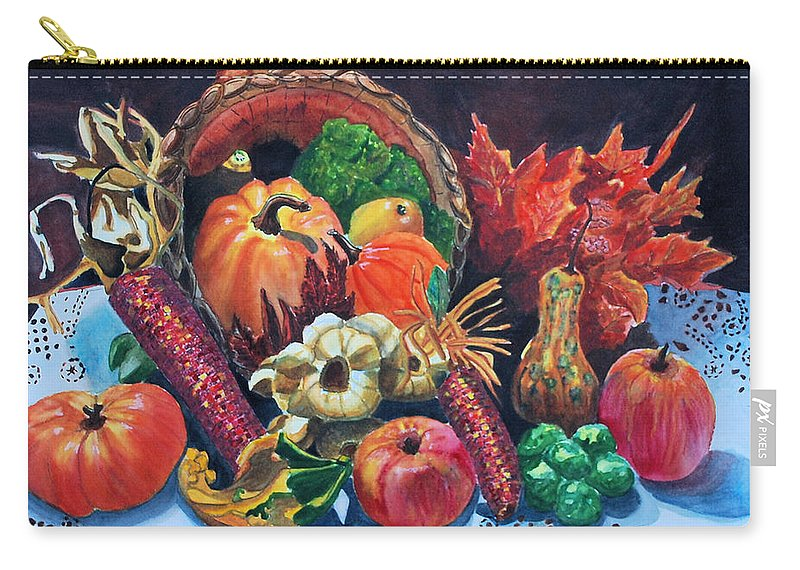 Watercolor Carry-all Pouch featuring the painting Harvest Bounty by Gerald Carpenter