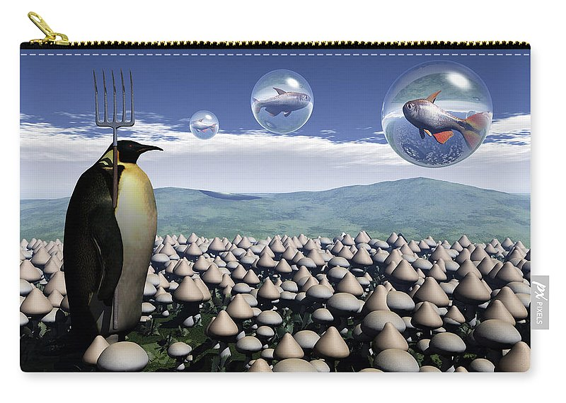 Surreal Carry-all Pouch featuring the digital art Harvest Day Sightings by Richard Rizzo