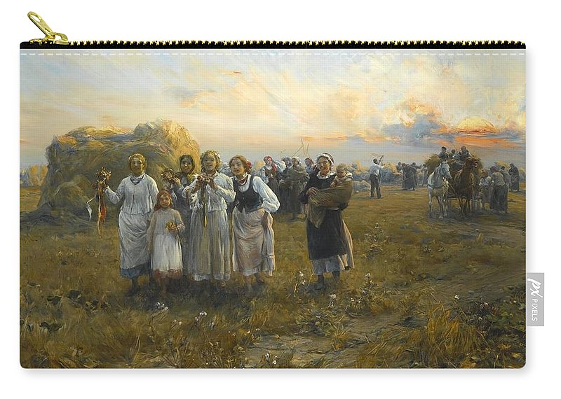 Harvest Festival By Alfred Wierusz-kowalski 1849-1915 Carry-all Pouch featuring the painting Harvest Festival By Alfred Wierusz-kowalski 1849-1915 by Adam Asar